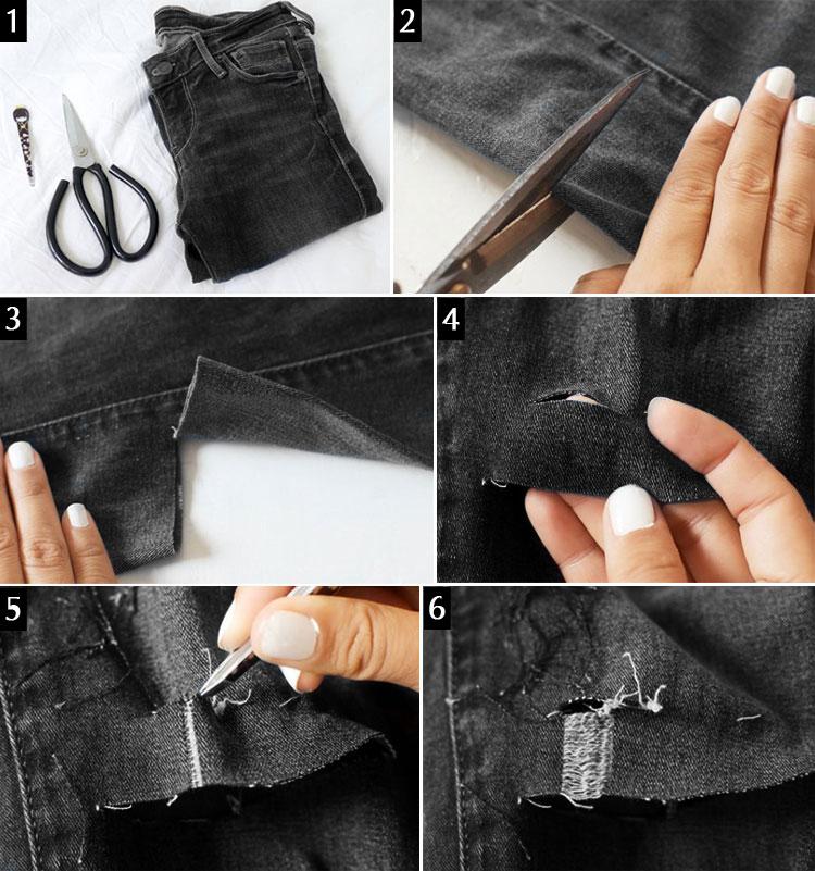 Как правильно сделать дырки на коленях джинсах 453
